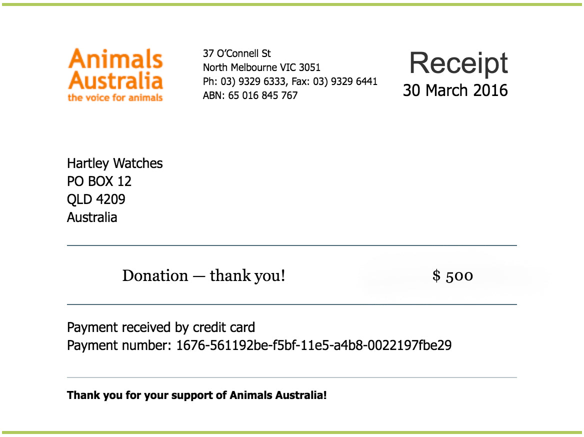 Donation Receipt Animals Australia