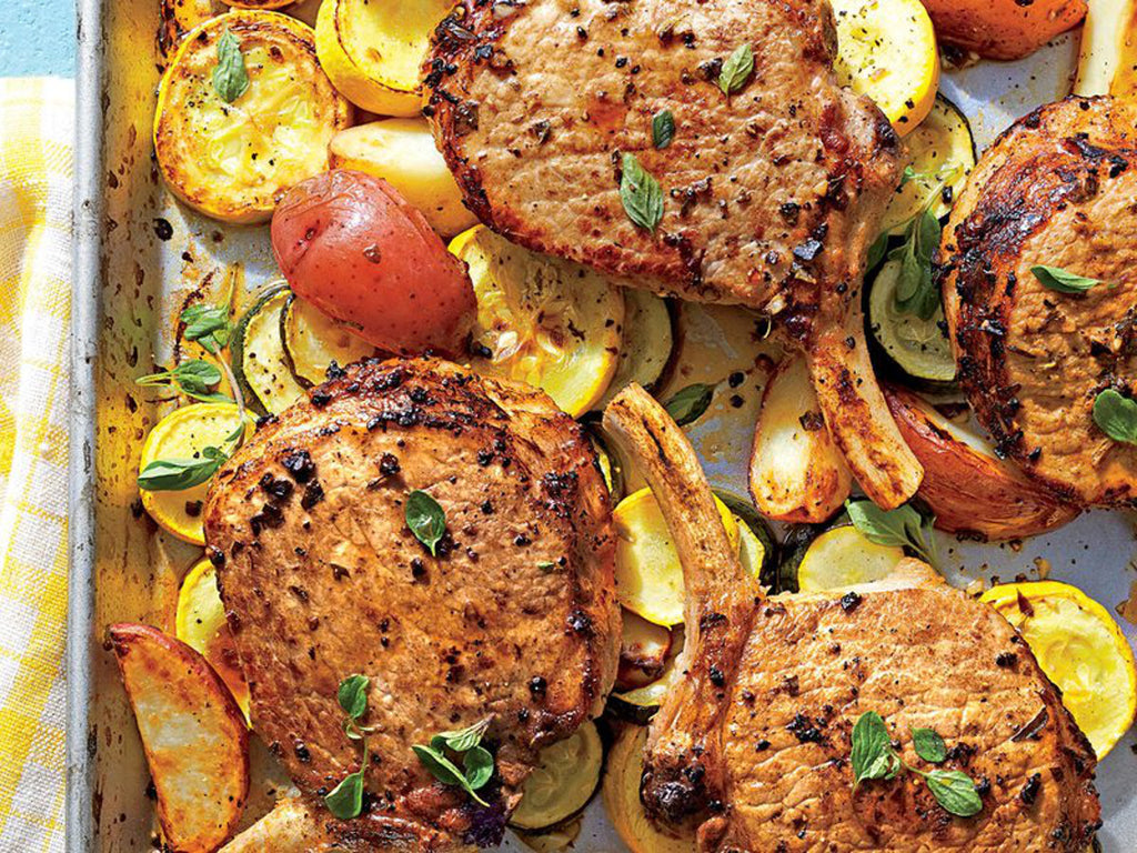 Southern Living Greek Pork Chops with Squash