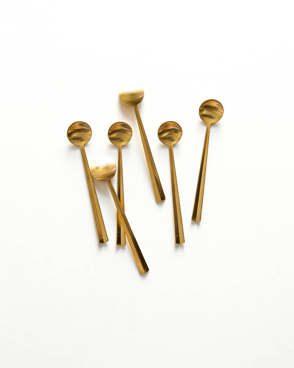 Set of 6 Gold Mini Spoons