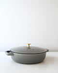 Enameled Cast Iron Braiser - Graphite/Brass