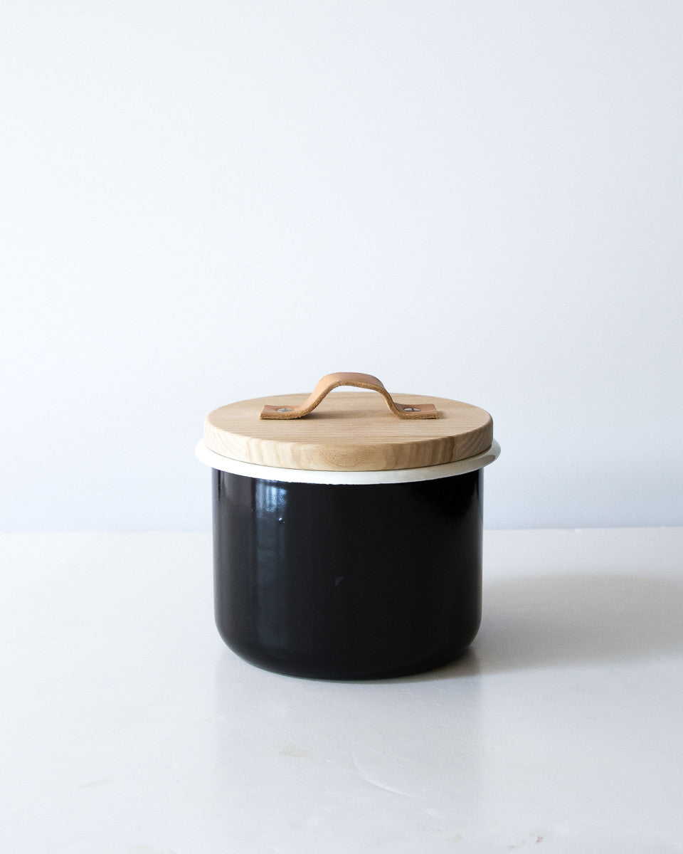 Large Canister w/ Leather Pull in Black