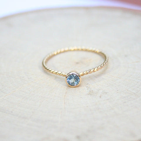 aquamarine gold ring dainty bezel set rings