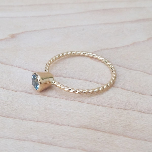 Bezel Set Gemstone Muse Ring Dainty Jewelry Handmade to Order
