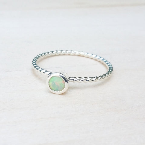 Opal Bezel Set Silver Ring Dainty Jewelry Handmade to Order