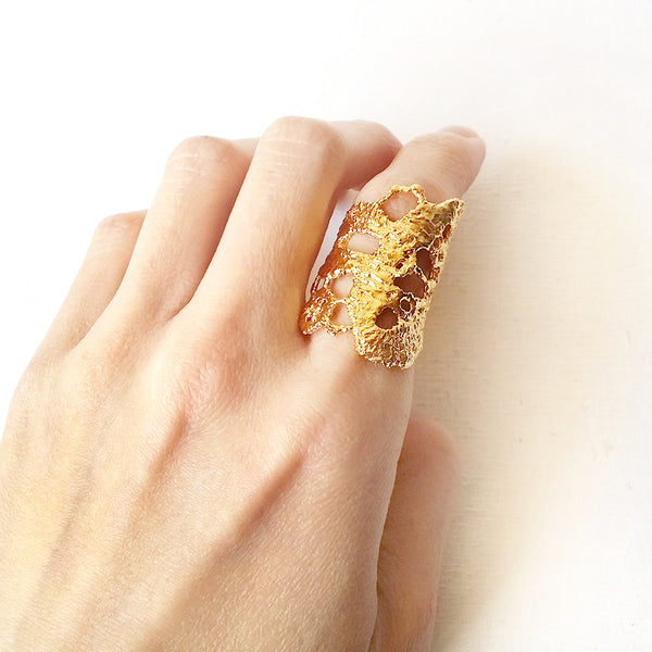 Lace Gold Ring Statement Unique Jewelry - No.5 Bella Ring