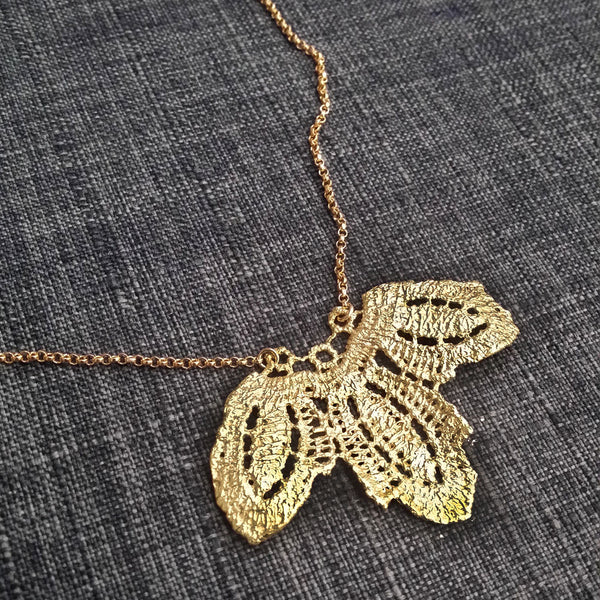 Lace Leaves Statement Necklace Handmade to Order