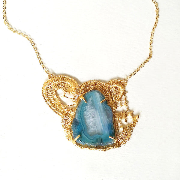 blue agate statement necklace gold lace necklaces unique jewelry