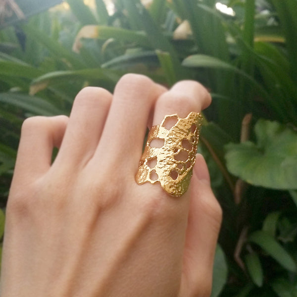 lace statement unique ring gold dipped silver rings