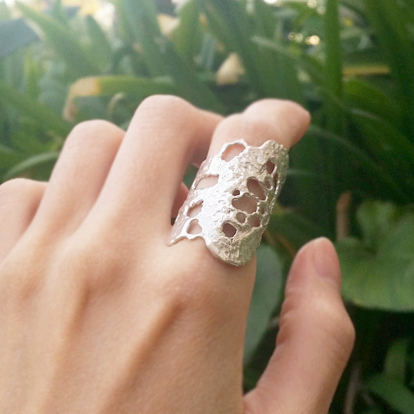 Lace Silver Ring Statement Unique Jewelry - No.5 Bella Ring
