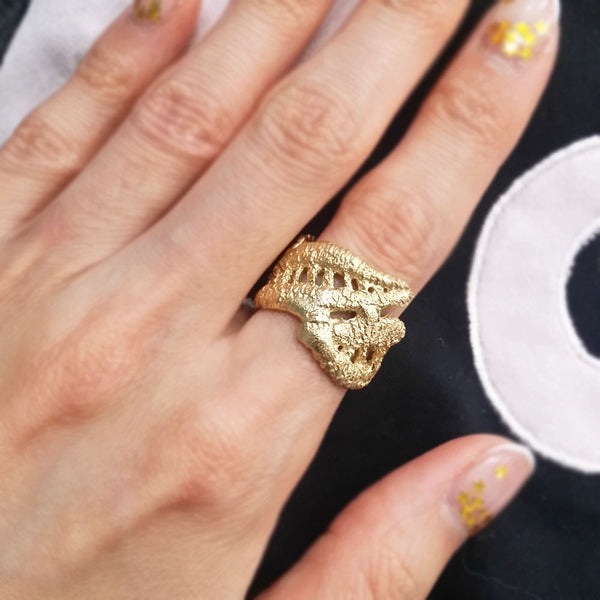 Unique Gold Plated Lace Ring No.3 Handmade Jewelry