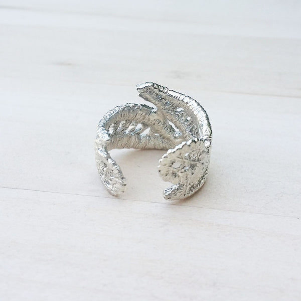 Unique Silver Lace Ring No.3 Leaf Jewelry