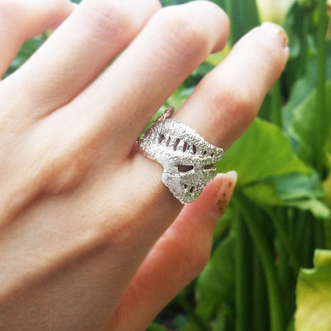 Unique Antique Leaf Lace Ring Handmade to Order