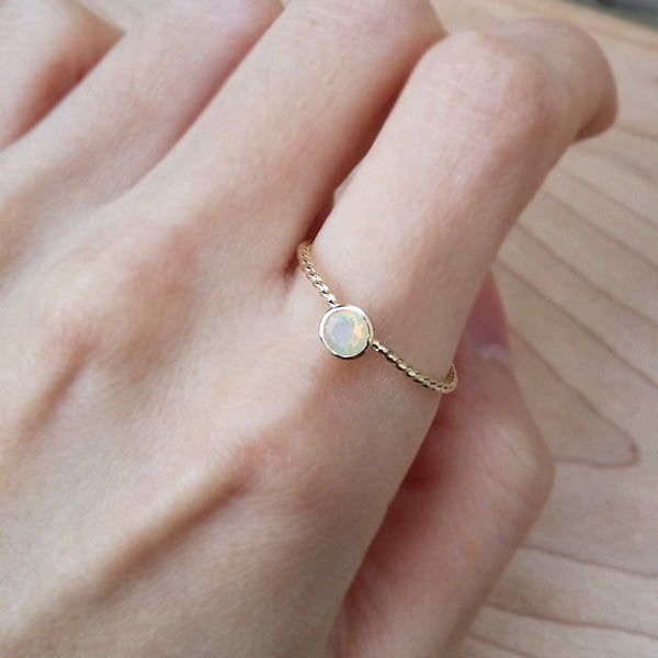 Opal Silver Ring Dainty Cute Rings Handmade