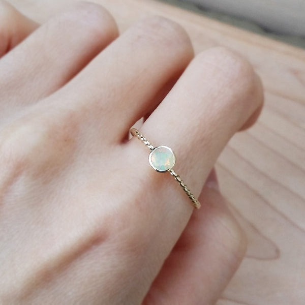 Opal Gold Ring Dainty Cute Rings Handmade