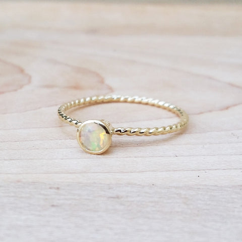 Opal Bezel Set Muse Ring Dainty Jewelry Handmade to Order