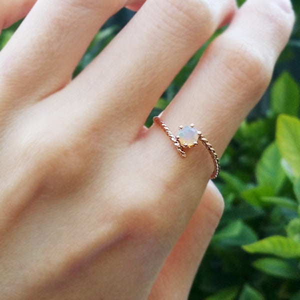opal rose pink gold ring