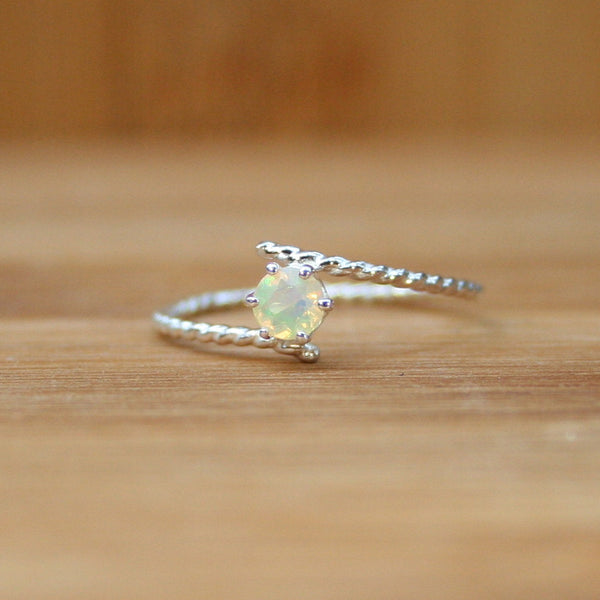 opal silver ring dainty rings bridesmaids jewelry simple ring