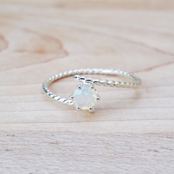 silver opal ring