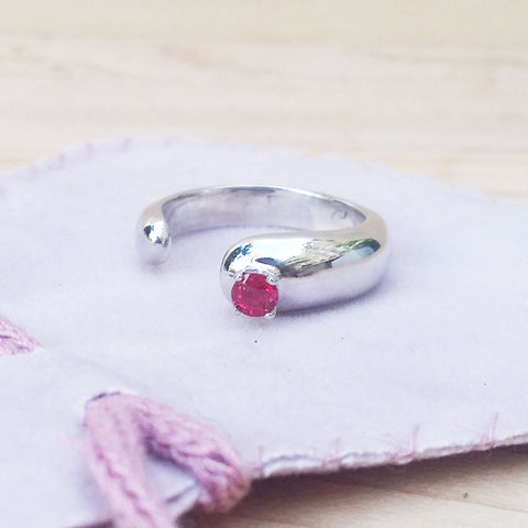 red ruby silver ring gemstone rings