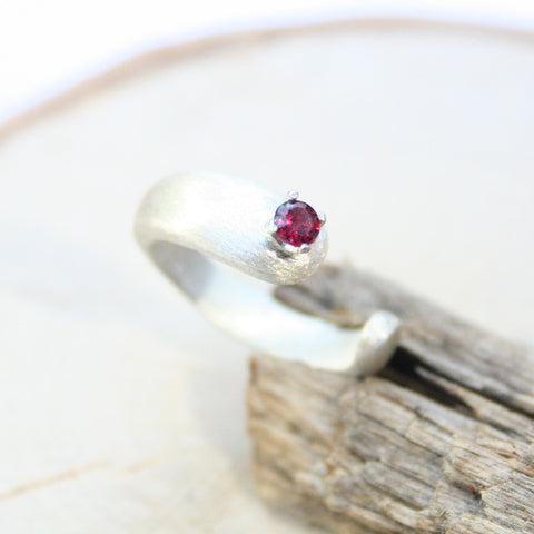 silver garnet ring gemstone open band rings