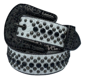 Corey Filips Crackled Leather Iced Out Belt - ECtrendsetters