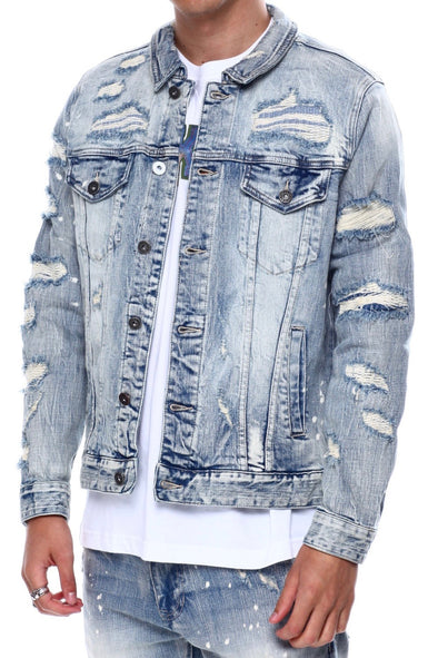 Smoke Rise Destroyed Denim Jacket - ECtrendsetters
