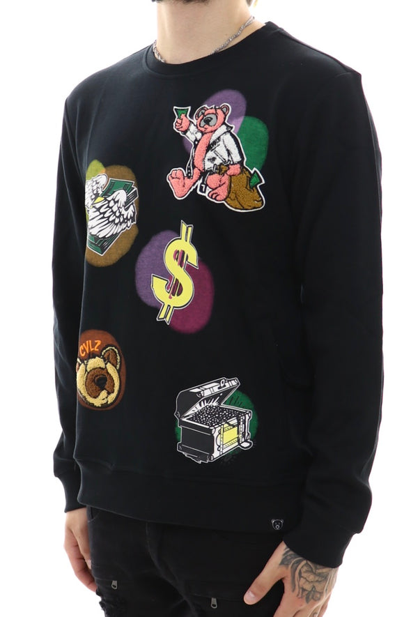 Civlized Bear Money Embroider Crewneck Sweater - ECtrendsetters