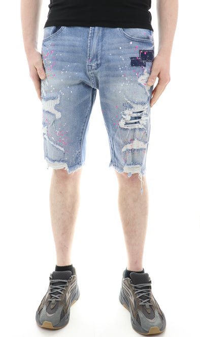 Blue Noir Patched Mending Denim Short - ECtrendsetters