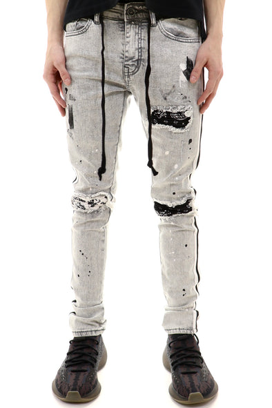 Focus Bandana Backing Ripped Track Denim - ECtrendsetters