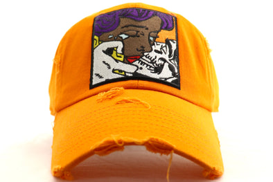 Girl Kisssing Skull Dad Hat