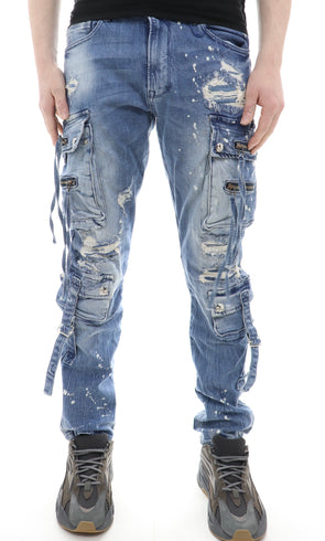 Blue Noir Multipocket Cargo Denim - ECtrendsetters