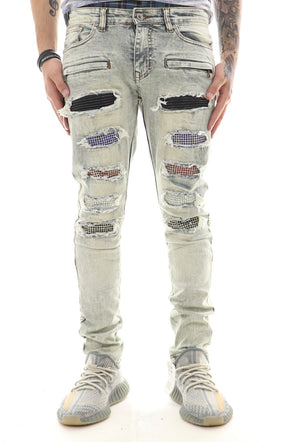 Focus Ripped Multi Color Iced Denim - ECtrendsetters