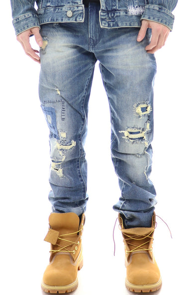 Bleu Noir Light Ripped Denim - ECtrendsetters
