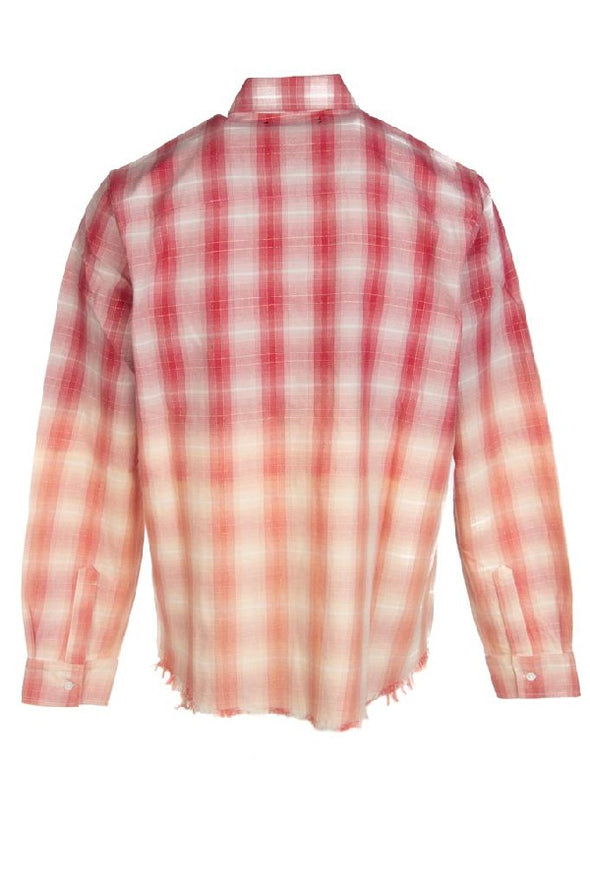 Amiri Distressed Ombre Plaid Button-down Shirt - ECtrendsetters
