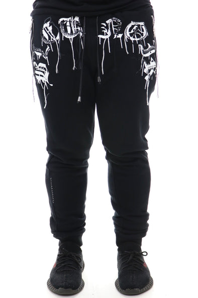 Bleu Noir Embroided Stitched Sweatpant - ECtrendsetters
