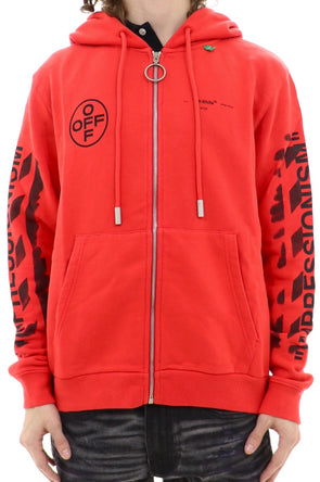 Off White Diagonal Stencil Zip Up Hoodie - ECtrendsetters
