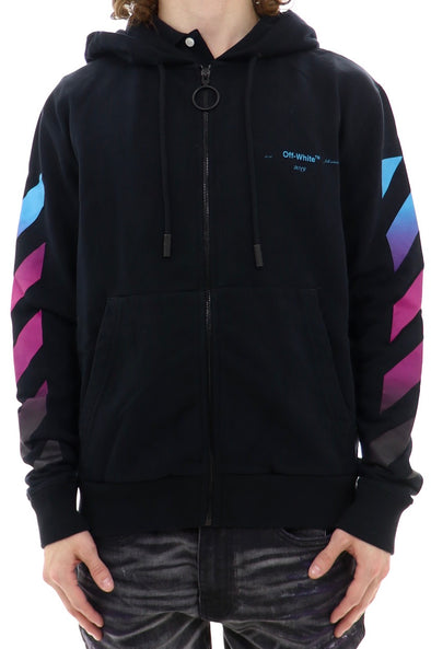 Off White Diagonal Gradient Zip Up Hoodie - ECtrendsetters