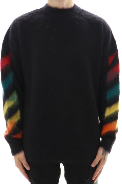 Off White Diag Brushed Mohair Crewneck Sweater - ECtrendsetters