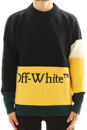 Off White Color Block Sweater - ECtrendsetters