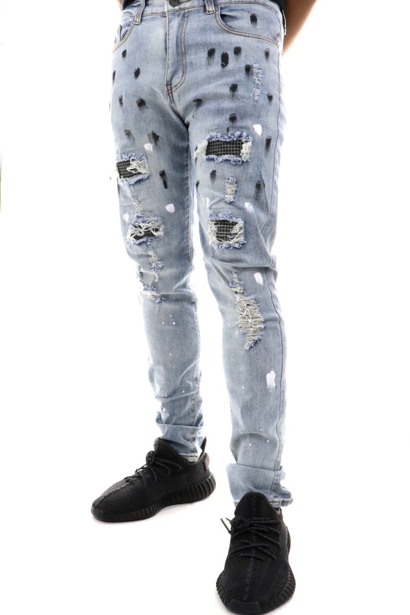 Waimea Stone Backing Paint Splatter Denim - ECtrendsetters