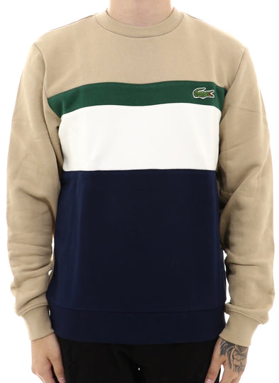Lacoste Men's Colourblock Fleece Crewneck Sweatshirt - ECtrendsetters