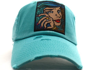 Blue Green Hair Dad Hat