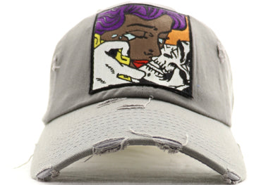 Girl Kisssing Skull Dad Hat - ECtrendsetters