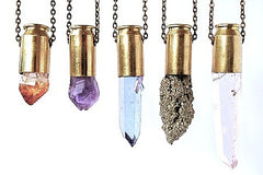 Tri rainbow aura aurora titanium quartz point crystal bullet necklace