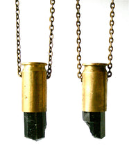 AURNIA black tourmaline crystal bullet necklace