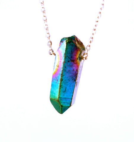 Silver rainbow aura aurora titanium quartz crystal necklace
