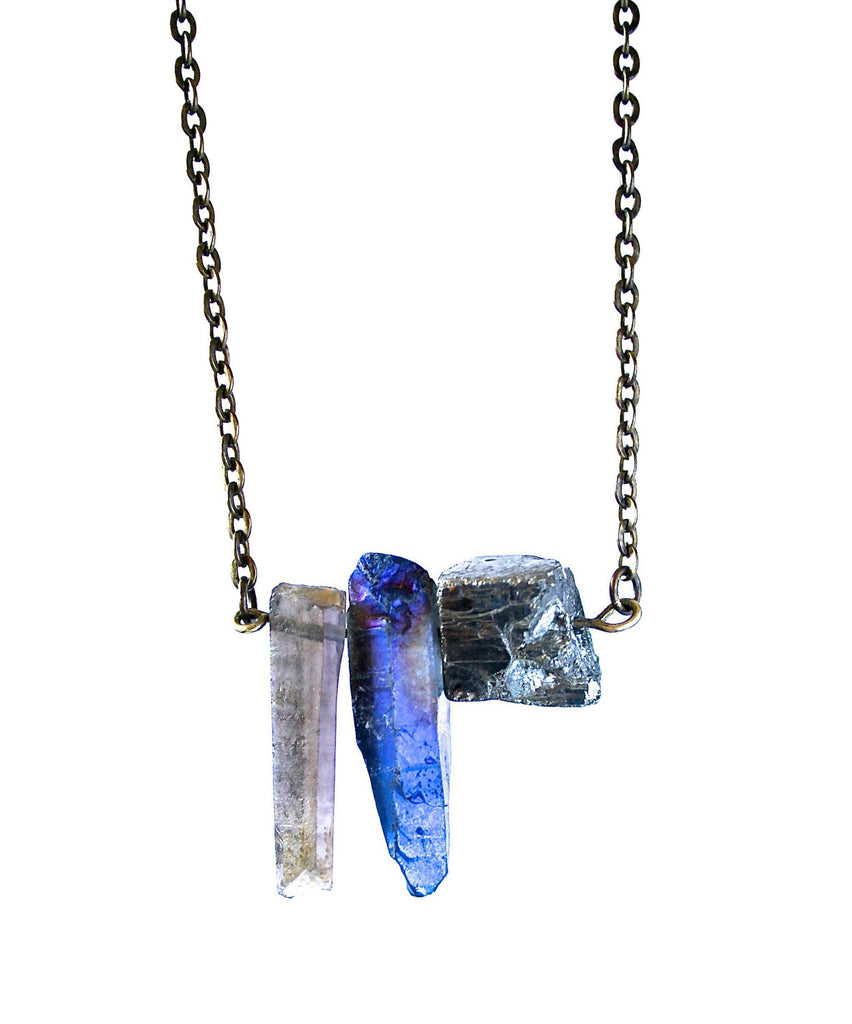 smoky quartz pyrite and peacock aura quartz crystal trio necklace