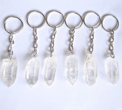 Raw CLEAR quartz keyring keys crystal key