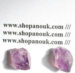 Amethyst and Quartz point duo silver plated post earrings