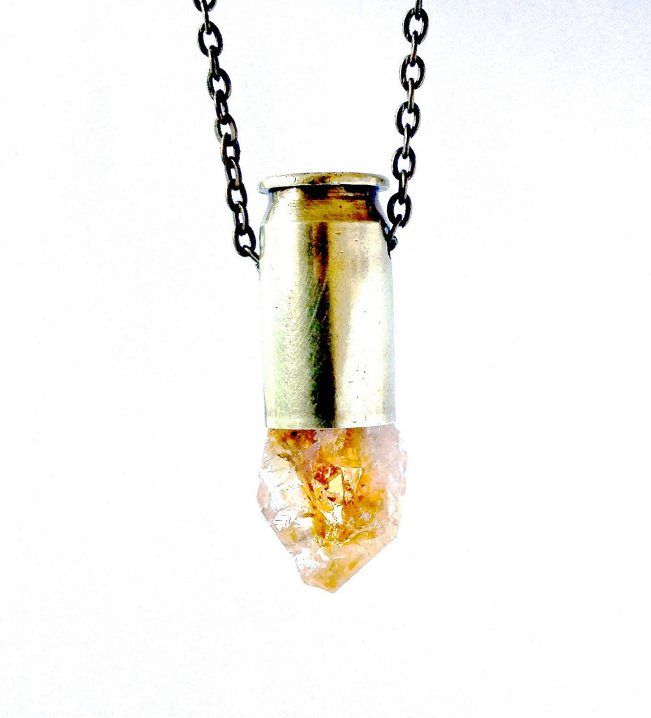 CHANDRA citrine crystal bullet necklace